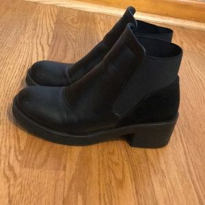 Black booties with suede back